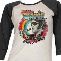 Elvis Presley- In Concert Las Vegas on a white/black 3/4 sleeve raglan girls shirt (Sale price!)