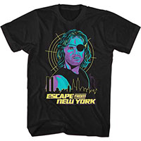 Escape From New York- Snake And City on a black ringspun cotton shirt