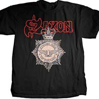 Saxon- Strong Arm Of The Law on a black shirt