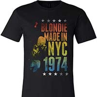 Blondie- Made In NYC 1974 on a black ringspun cotton shirt