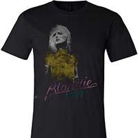 Blondie- 1977 on a black ringspun cotton shirt