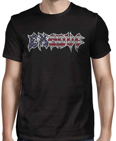 Exodus- American Logo on front, Make Thrash Great Again on back on a black shirt