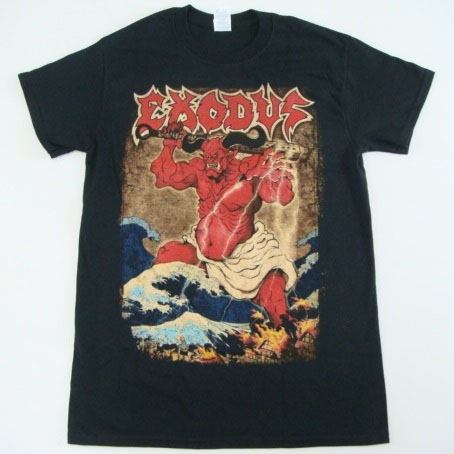 Exodus- Oni on front, Strike Of The Beast on back on a black shirt
