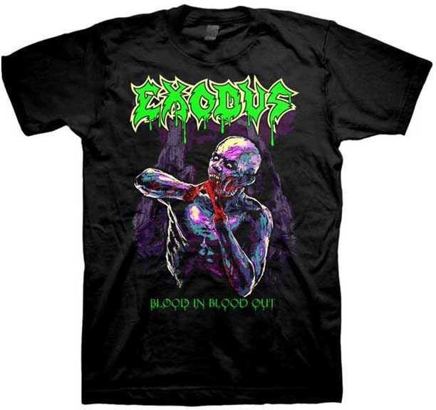 Exodus- Blood In Blood Out on a black shirt