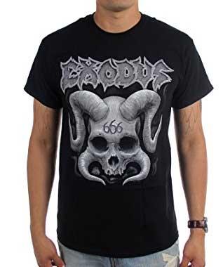 Exodus- Horned Skull on a black shirt