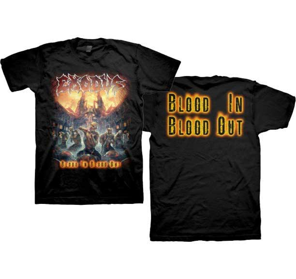 Exodus- Blood In Blood Out (City & Zombies) on front & back on a black shirt