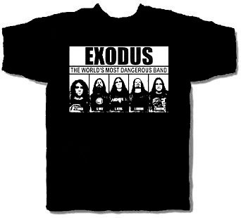 Exodus- Most Wanted on front, Police Report on back on a black shirt (Sale price!)