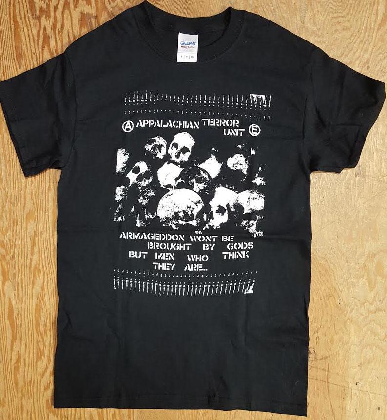 f6f4a09015a9 Appalachian Terror Unit- Armageddon Won t Be Brought By Gods on a black  shirt