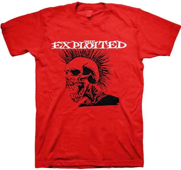Exploited- Screaming Skull on a red shirt