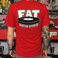 Fat Wreck Chords- Logo on front & back on a red ringspun cotton shirt