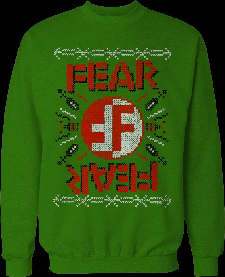 Fear- Christmas Sweater Design on a green crew neck sweatshirt