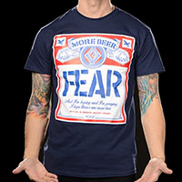 Fear- More Beer (Beer Label) on a navy ringspun cotton shirt