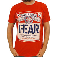 Fear- More Beer (Beer Label) on a red ringspun cotton shirt