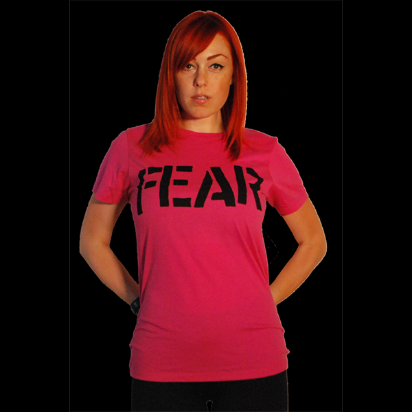 Fear- Logo on a pink girls fitted shirt