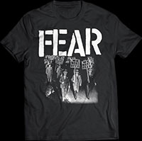 Fear- We Want Beer on a black ringspun cotton shirt