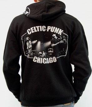 Flatfoot 56- Logo on front, Celtic Punk on back, Spade on hood on a black zip up hooded sweatshirt