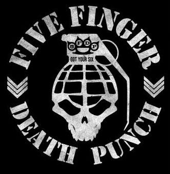 Five Finger Death Punch Grenade On A Black Shirt