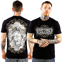 Logo on front, Doom Sayers on back of a black ringspun cotton shirt by Fortune Killer (Sale price!)