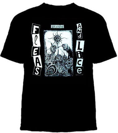 Fleas And Lice- Global Destruction on a black YOUTH SIZED shirt (Sale price!)