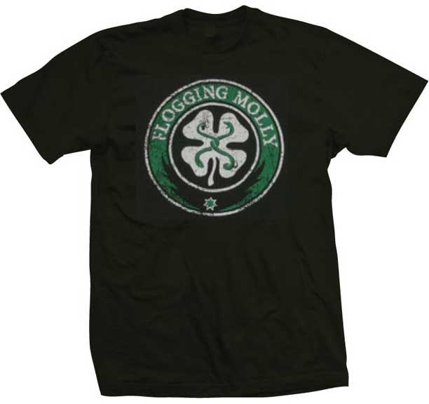 Flogging Molly- Distressed Shamrock on a black shirt
