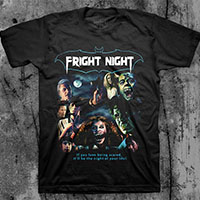 Fright Night- Collage on a black ringspun cotton shirt