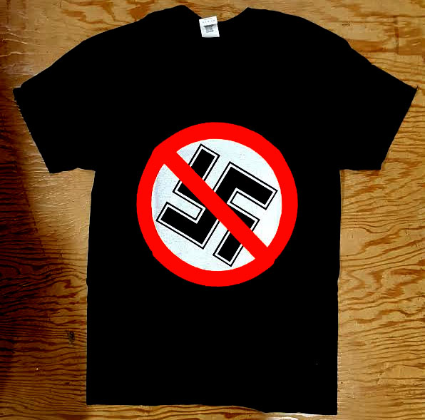 Anti Nazi- Crossed Out Swastika on a black shirt