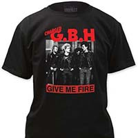 GBH- Give Me Fire on a black shirt