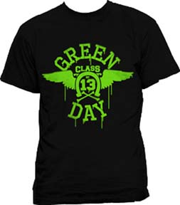 Green Day- Class Of 13 Wings on a black shirt (Sale price!)