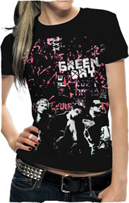 Green Day- Band Pic And Pink Grafitti Wall on a black girls fitted shirt (Sale price!)