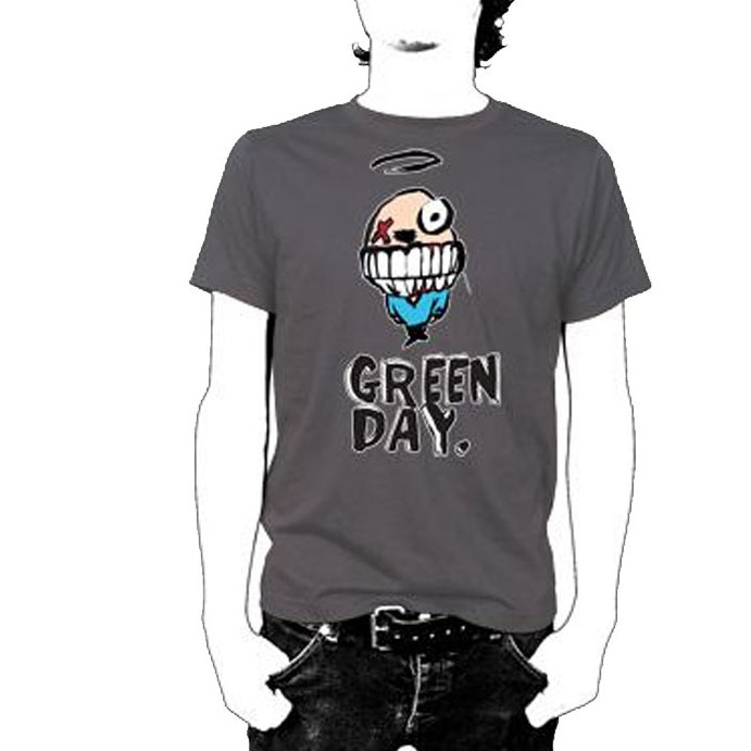 Green Day- Grin on a charcoal shirt (Sale price!)