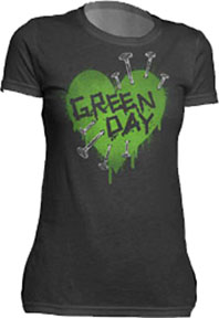 Green Day- Nailed Heart on a black girls fitted shirt (Sale price!)