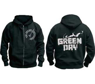 Green Day- Molotov Cocktail on front, Logo on back on a black zip up hooded sweatshirt (Sale price!)