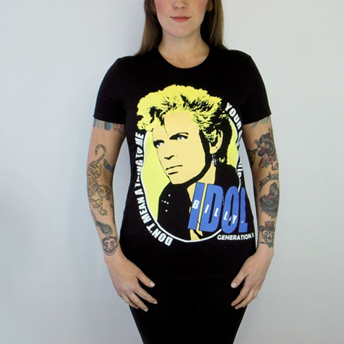 Generation X- Billy Idol (Your Generation) on a black girls fitted shirt (Sale price!)