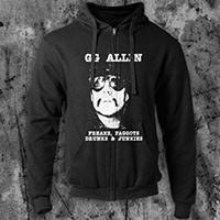 GG Allin- Freaks... on a black zip up hooded sweatshirt