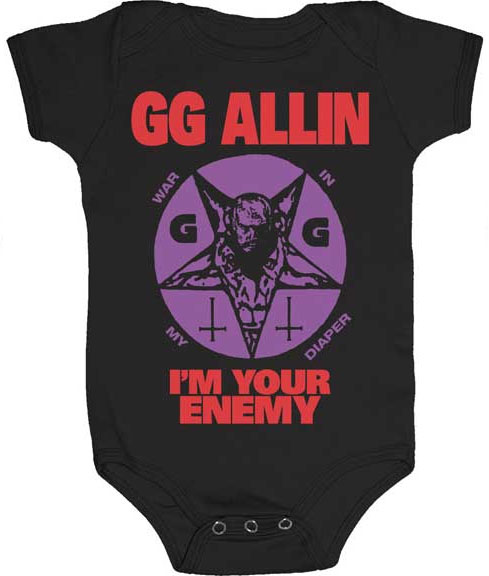 GG Allin- I'm Your Enemy on a black onesie (S-6m, M- 12m, L- 18m)