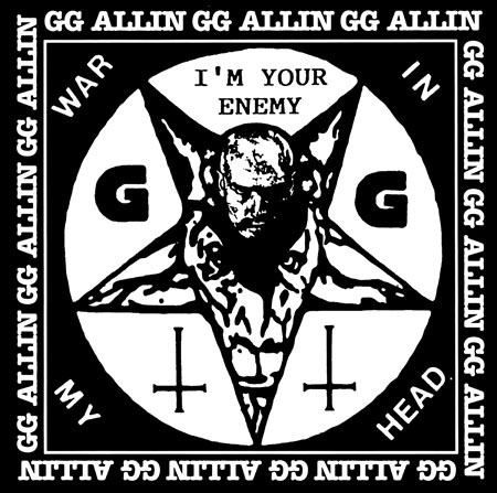 GG Allin- War In My Head on a black hooded sweatshirt