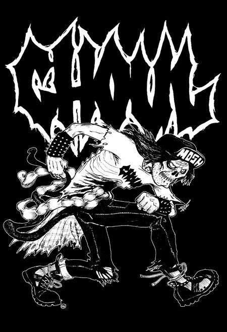 Ghoul- Mosher on a black hooded sweatshirt