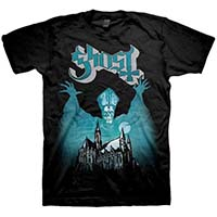 Ghost- Opus Eponymous on a black shirt