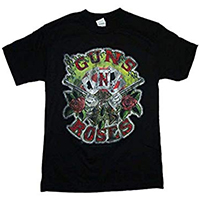 Guns N Roses- Cards Logo on front & back on a black shirt