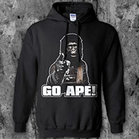 Planet Of The Apes- Go Ape on a black hooded sweatshirt