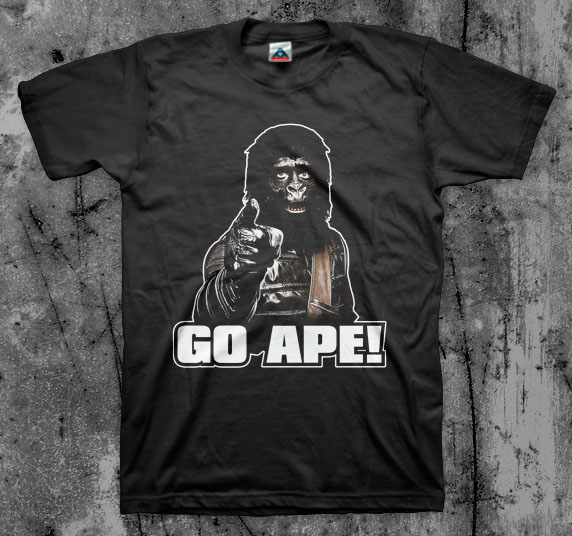 Planet Of The Apes- Go Ape on a black shirt
