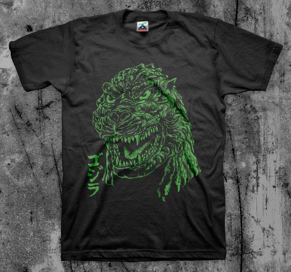 Godzilla- Face on a black shirt