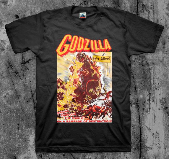 Godzilla- It's Alive on a black shirt