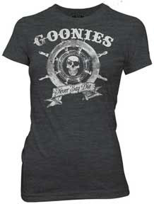 Goonies- Never Say Die (Skull & Ship's Wheel) on a charcoal girls fitted shirt