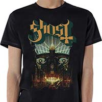 Ghost- Meliora on a black shirt