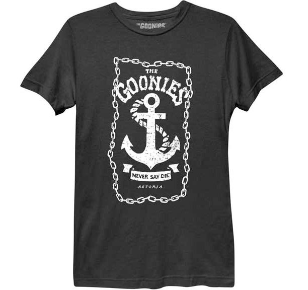 Goonies- Never Say Die (Anchor) on a black girls fitted shirt