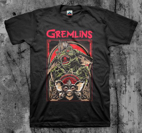 Gremlins- Mogwai & Gremlin on a black shirt
