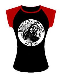 Rudimentary Peni- Farce on a black & Red girls shirt