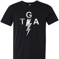 Gaslight Anthem- TGA Bolt on a black ringspun cotton shirt