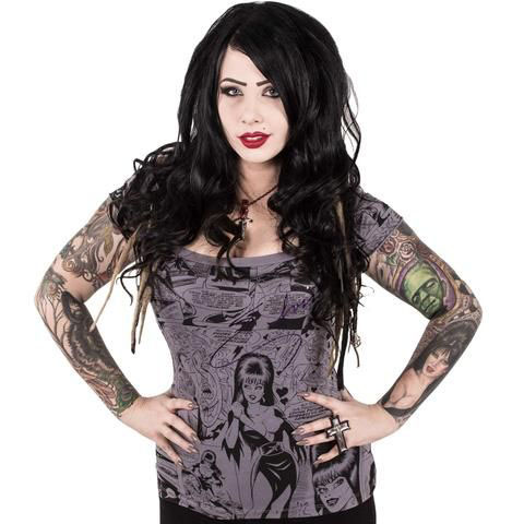Elvira - Off Shoulder Comic Print Girls Top by Kreepsville 666 - SALE sz XL only